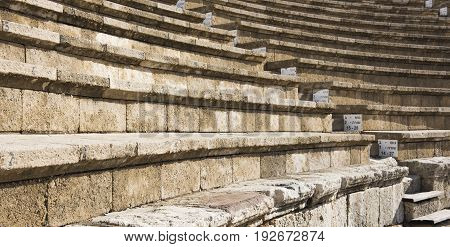 Stage of the ancient amphitheater in Caesarea tell the story of Palestine.