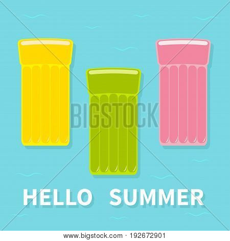 Yellow pink green air pool floating water mattress icon set. Blue water sea ocean background with wave. Hello summer greeting card. Flat design. Vector illustration