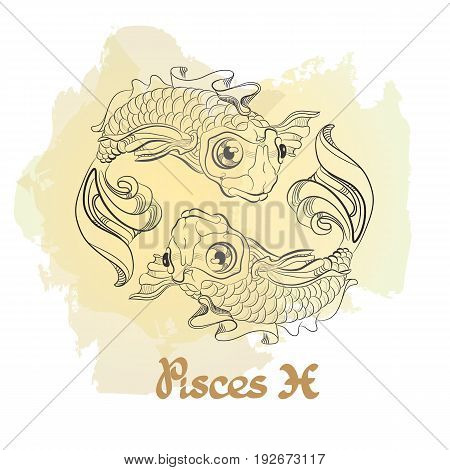 Hand drawn line art of decorative zodiac sign Pisces on white background. Horoscope vintage card in doodle style with handwritten word.