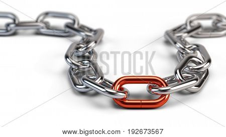 Chrome chain with a red link. 3d illustration