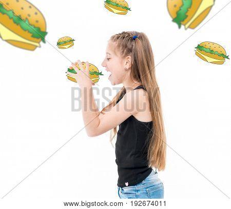 teen girl eating hamburgers, hamburgers around her