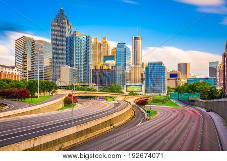 Atlanta, Georgia, USA downtown skyline and highway.