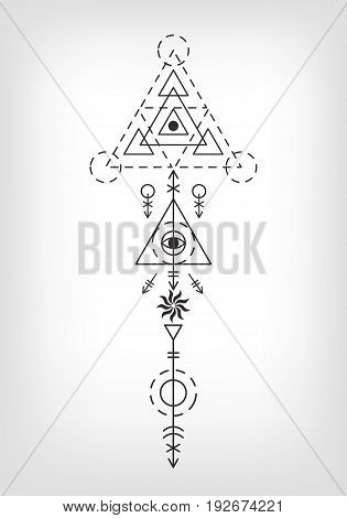 Sacred geometry aztec tattoo sign. Alchemy linear art. Religion, spirituality, astrology emblem, ethnic tribal t shirt print.