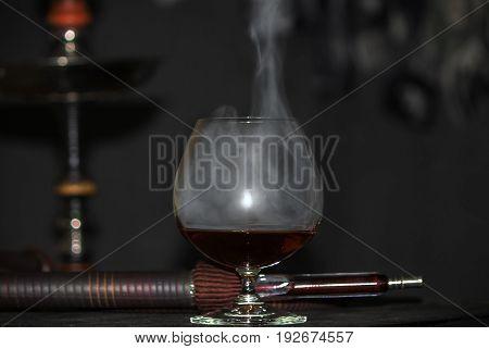 Heavy Hookah Smoke With A Brandy Glass On A Gray Background, Hookah Tube