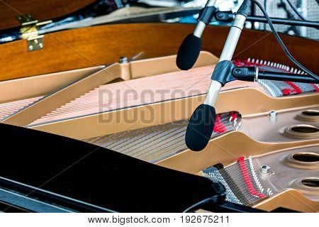 Microphones Above The Strings Of Black Grand Piano With Raised Lid