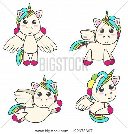 Vector set of unicorns with wings in four different poses. Cute flat design.