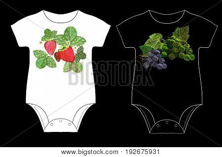 vector illustration of strawberry and cluster of grapes with a green leaf for Children is body embroidery. Sticker and patch with modern trend for baby.