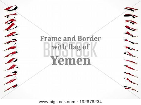 Frame And Border With Flag Of Yemen. 3D Illustration