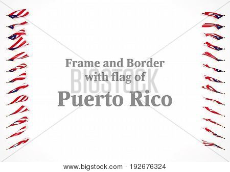 Frame And Border With Flag Of Puerto Rico. 3D Illustration