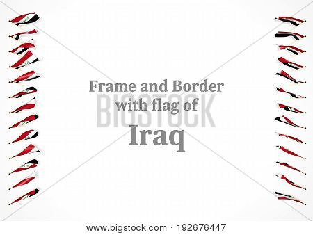 Frame And Border With Flag Of Iraq. 3D Illustration