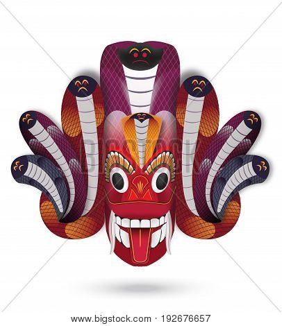 Sri Lanka Crafts Naga Raksha Cobra Mask in vector format