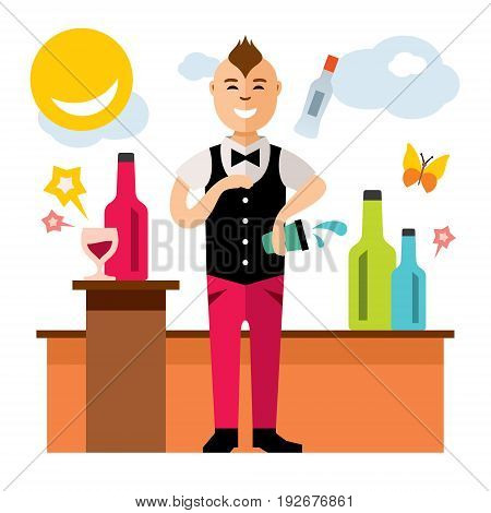 Man juggling bottle and shaker. Isolated on a White Background