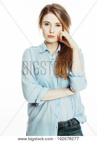 cute young pretty girl thinking on white background isolated close up blond