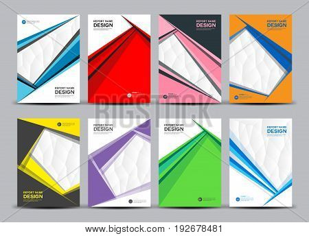 Brochure template layout cover design annual report magazine flyer in A4 size polygonal triangles Vector set