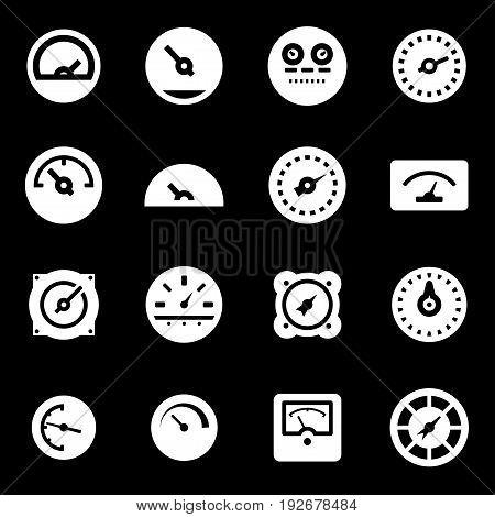 Vector white meter icons set on black background