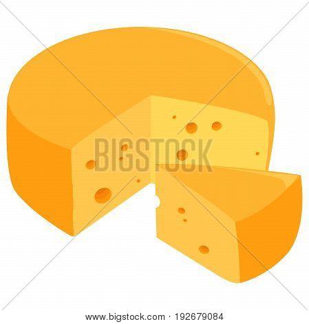 Sliced Swiss cheese wheel . Vector illustration