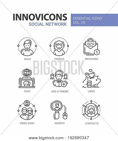 Social Network - modern color vector single line icons set. Male, female person, message, text, letter, chat, globe, add, friend, like, thumbs up, saving pig video search mouse contact net