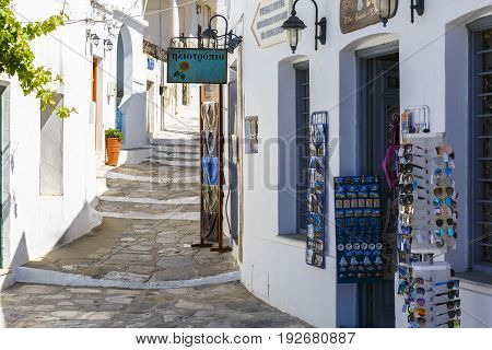 APOLLONIA, GREECE - MAY 20, 2017: Shops in the old village of Apollonia on Sifnos island in Greece on May 20, 2017.