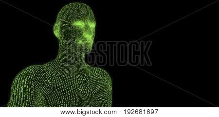 Digitally generated 3d man against black background