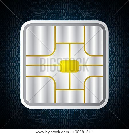 Technology Digital Cyber Security Card Chip Binary
