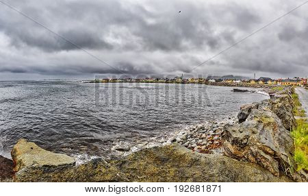 View On Andenes On Very Heavy Cloudy Day. Norway.