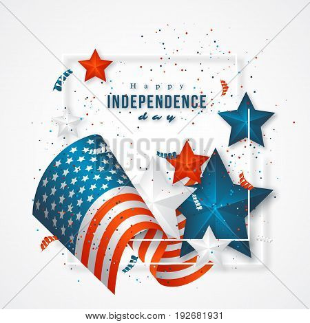 USA independence day. Holiday background with frame, american flag, 3d stars and confetti. Vector illustration.
