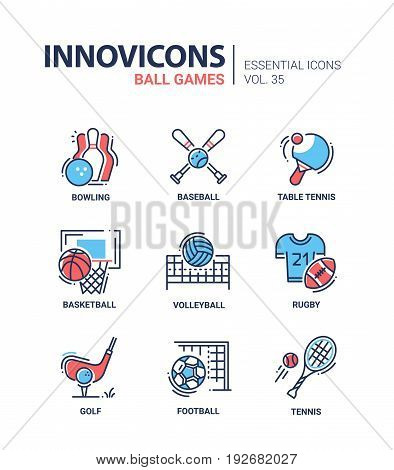Ball Games - modern vector line design icons set. Bowling, baseball, bat, table tennis, racket, basketball, volleyball, rugby, golf, club, football. Present, promote your favorite sport.