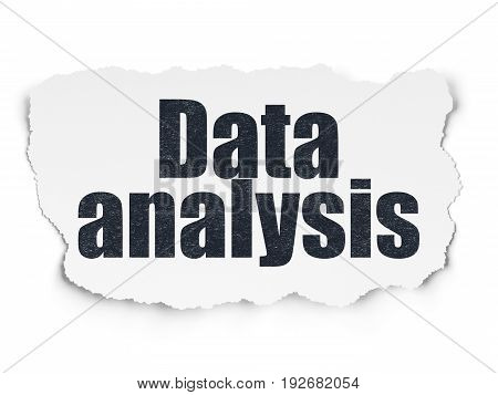 Information concept: Painted black text Data Analysis on Torn Paper background with  Tag Cloud