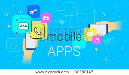 Mobile apps on smartphone concept vector illustration. Human hands hold smart phone with popular apps such as messenger, voice call, camera, e-mail. Applications and modern lifestyle. Creative banner