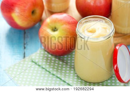 Canned homemade applesauce for dessert and baby food