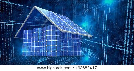 3d image of house made from solar panels and cells against illustration of virtual data