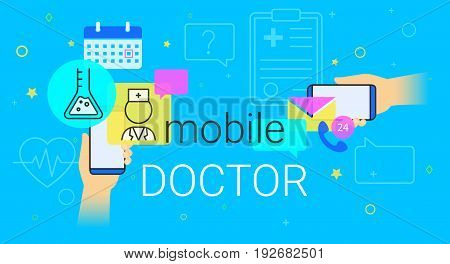 Mobile doctor and medicine research results on smartphone concept illustration. Human hands hold smart phones with app for health care and medical support. Creative healthcare banner blue background