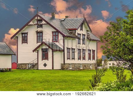 View Of Typical Norwegian House In Andenes.