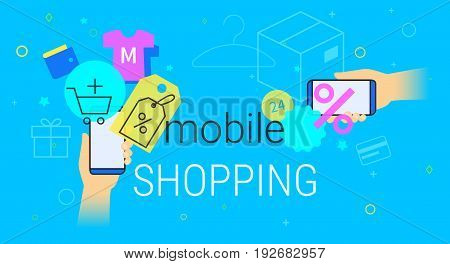 Mobile shopping on smartphone concept illustration. Human hands hold smart phone with app for fast ordering and buying goods and services with promo price and discounts. Creative e-commerce blue banner