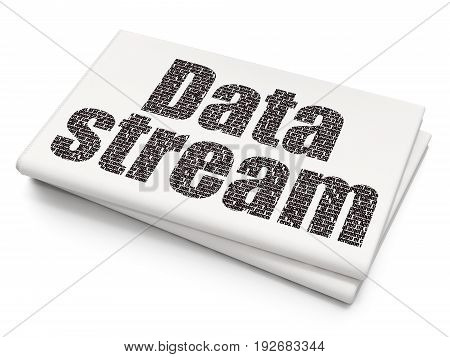 Data concept: Pixelated black text Data Stream on Blank Newspaper background, 3D rendering