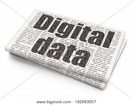 Information concept: Pixelated black text Digital Data on Newspaper background, 3D rendering