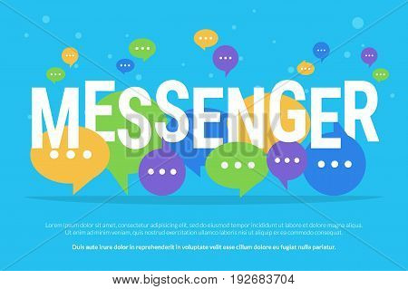 Messenger concept vector illustration of big letters with colour speech bubbles flying on blue background. Bright banner for texting and communications promotion and advertisement in web