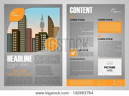 Vector flyer corporate business annual report brochure design and cover presentation in orange color with city in leaf.
