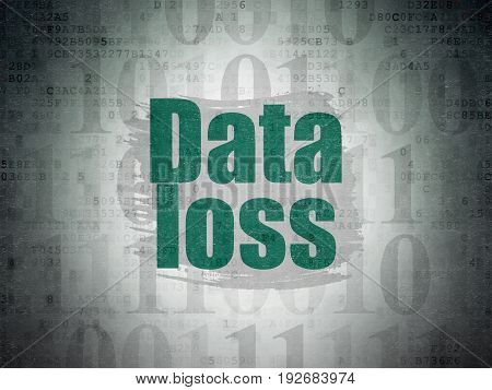 Data concept: Painted green text Data Loss on Digital Data Paper background with   Binary Code