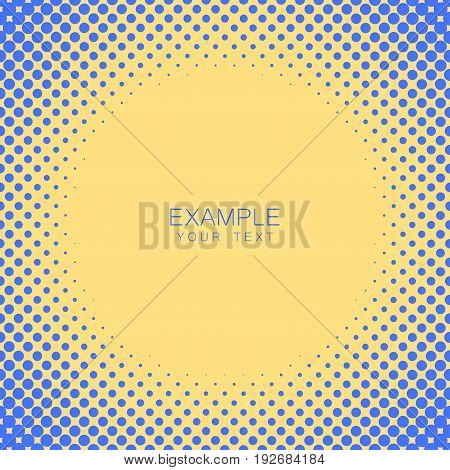 Circle frame halftone abstract background in blue and complement colors for cover, logo, emblem with an example of text in the center