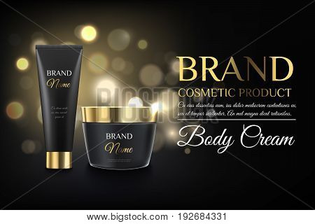 Beautiful Golden And Black Cosmetic Templates For Ads, Realistic Matte Black And Gold Bank And Tube
