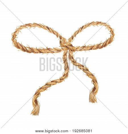 Watercolor hand drawn background with the bow-knot of the linen rope. Brown cable. The jute rope. Twine. Isolated illustration on white background.