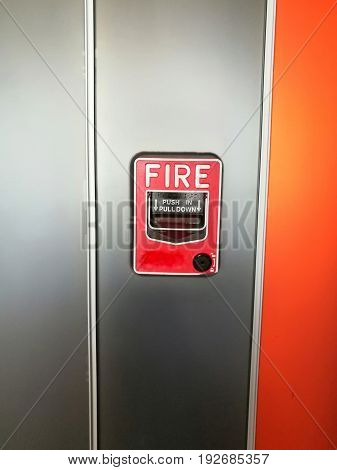 Fire Alarm in indoor building. Tool for emergency incident.