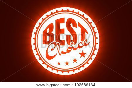Stamp icon. Graphic design elements. 3D rendering. The best choice text. Neon illumination