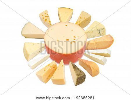 Different pieces of hard cheese semi-soft cheese and soft cheese various types lined up in a circle around the cheese wheel in center on a light background