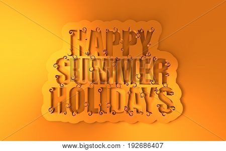 Lettering illustration with happy summer holidays text. Typography poster with abstract ornament of curls. 3D rendering
