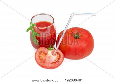 Tomatoes with drinking straw and tomato juice