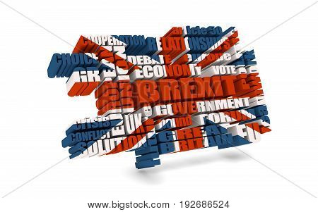 United Kingdom exit from Europe relative words cloud. Brexit named politic process. 3D rendering