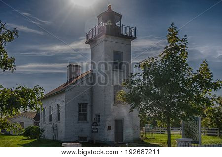 Historic sand point lighthouse in Escanaba Michigan