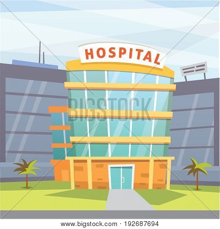 Hospital building cartoon modern vector illustration. Medical Clinic building and city background. Emergency room exterior